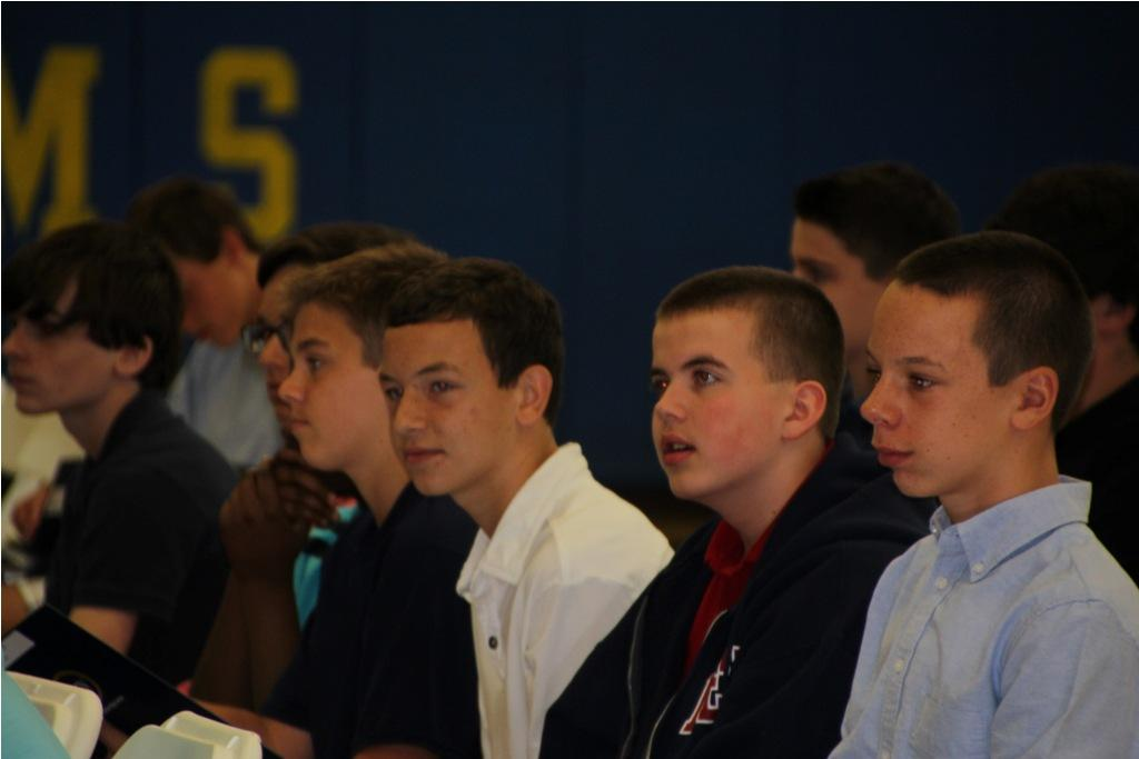 Incoming members of the Class of 2018 listen to the preliminary speeches given at this year's Orientation.