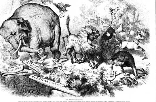 A political cartoon by Thomas Nast credited as the first association of the donkey and the elephant with the Democratic and Republican parties, respectively.