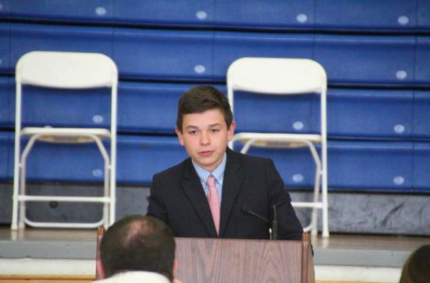 Michael+Viggiano+addressing+the+school+as+a+candidate+for+10th-grade+CEO