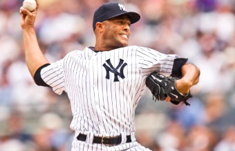 Mariano Rivera throws his signature cutter during a dominating ALCS performance where he was awarded ALCS MVP