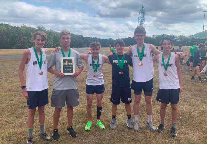 JV Top 6 Runners (Left to right: Gus Russo (9), Jack Sula (12), Brandon Franks (9), Logan Drone (11), Aidan Philbrick (11), Jake McChesney (10)