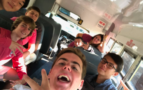 Chris Lowe, Steven Fudenna, Ted Babcock, James Kim, Nick Looney, Cole Noss, and Mrs. Gribbin getting ready to embark on their trip!