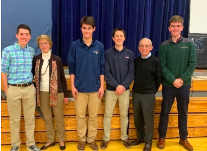"""Speakers at the """"Pursuing Your Passion"""" assembly (from left to right, Max Terraciano, Mrs. Al Hartman, Tom Lamonte, Will Heffernan, Dr. Al Hartman, Aidan Philbrick)"""