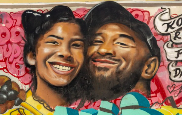 Mural of Kobe Bryant (right) and his daughter Gianna Bryant (left) following their death on January 27, 2020.