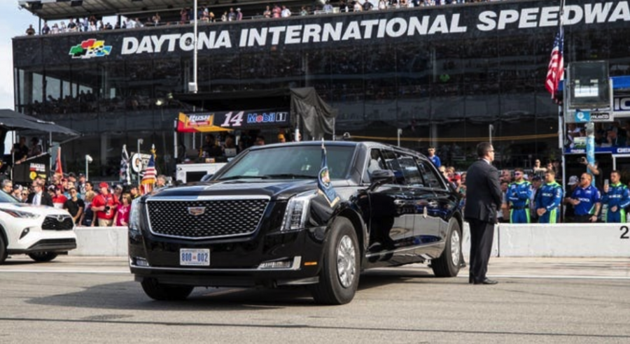 """The Beast"" parked on pit row before the start of the 2020 Daytona 500.  Image Courtesy of: https://www.detroitnews.com/story/news/politics/2020/03/04/presidential-candidates-car-choices-make-statement/4863616002"